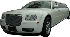 White Chrysler limo for hire, School Proms, Birthday celebrations and anniversaries. Cars for Stars (Watford)